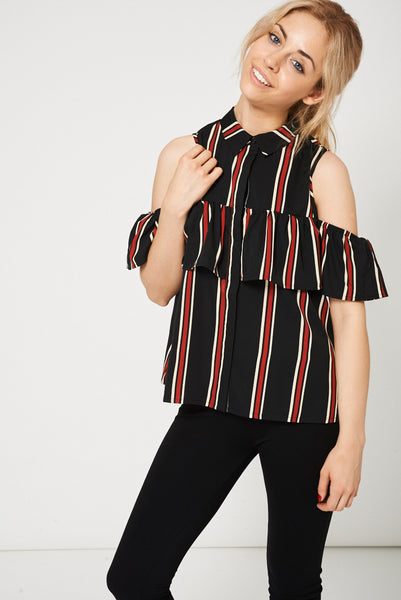 Ruffle Frill Cold Shoulder Top