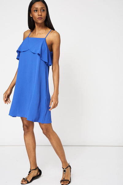 Blue Frilled Top Dress