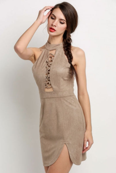 Faux Suede Lace Up Bodycon Dress - Clothing - XANA's Boutique