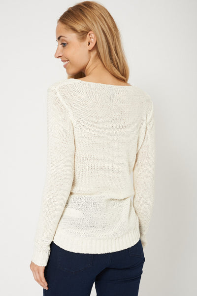 Crochet Cable Knit Cream Jumper