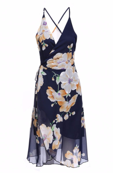 Spaghetti Strap V-Neck Backless Chiffon Floral Wrap Beach Dress - XANA's Boutique  - 1