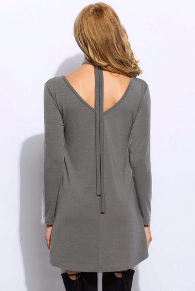 Halter V-Neck Long Sleeve Mini Dress