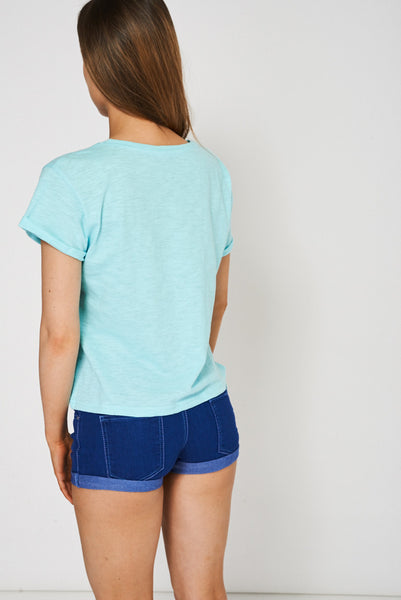 Side Tie Up Blue T-Shirt