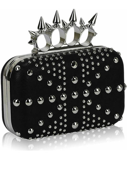 Exclusive Studded Black Union Jack Clutch Purse - Bags - XANA's Boutique