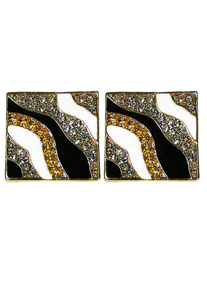 Four-Tone Square Rhinestone Earrings