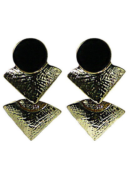 Gold Tone Black Circle Triangle Stud Earring
