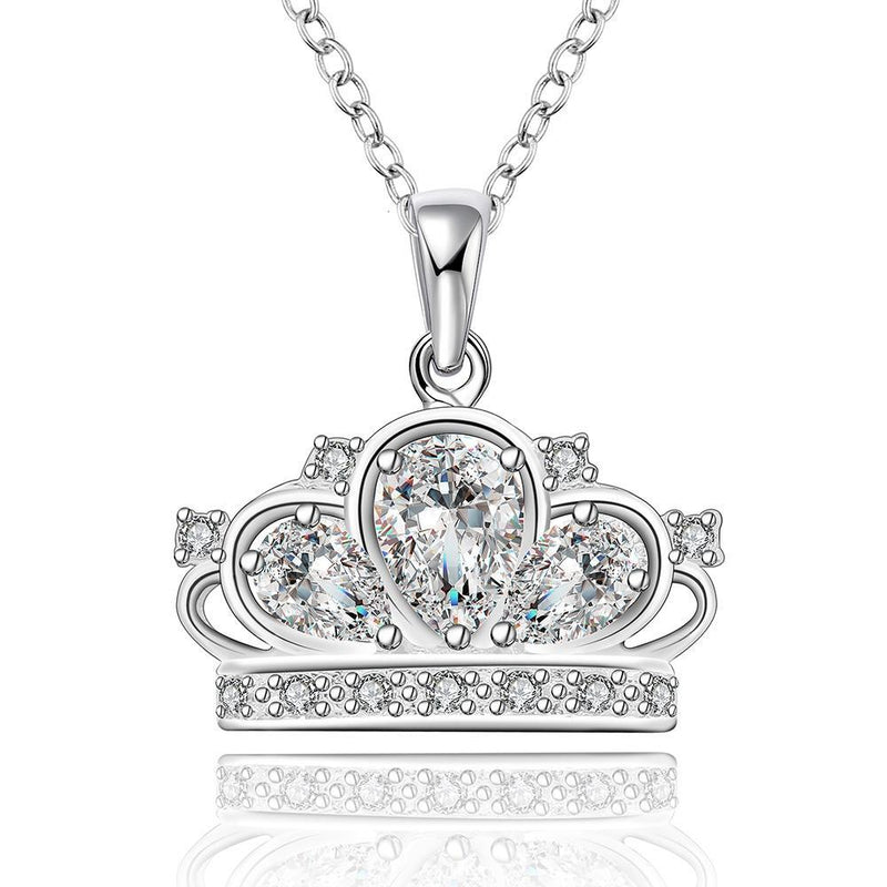Silver Princess Crown Necklace