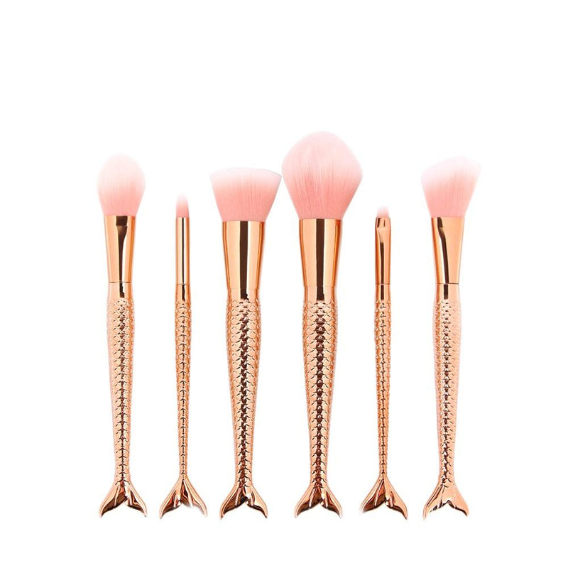 6 Piece Mermaid Makeup Brush Set