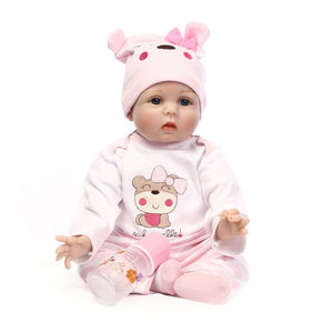 55cm Baby Silicone Dolls Reborn Dolls Simulation Baby Dolls Handmade Reborn Baby Cotton Toy Toddler Soft Dolls for Kids