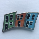 Load image into Gallery viewer, Stained Glass Row House Brooch