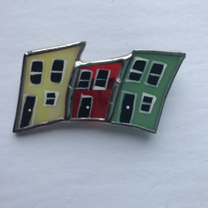 Stained Glass Row House Brooch