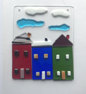 Row House Fused Glass Window or Wall Hanging