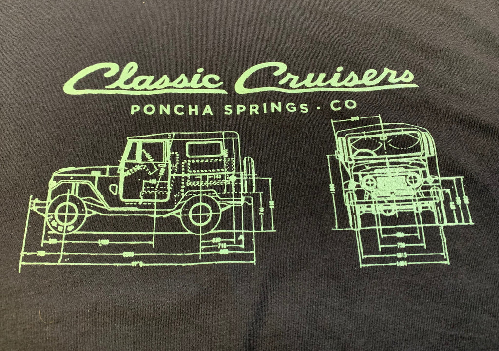 FJ40 Blueprint T-Shirt (Men's and Women's) Short Sleeve