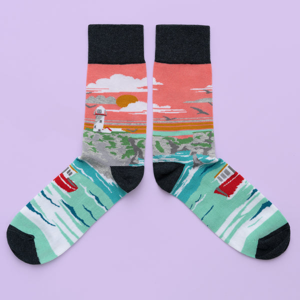 MULTICOLORED IRISH SOCKS DEPICTING CLIFFS OF MOHER BY SOCK CO OP.