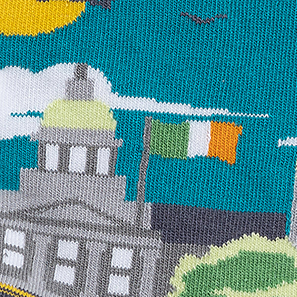 MULTICOLOURED IRISH SOCKS, OF DUBLIN, WITH CUSTOM HOUSE AND LIFFEY, BY SOCK CO OP.