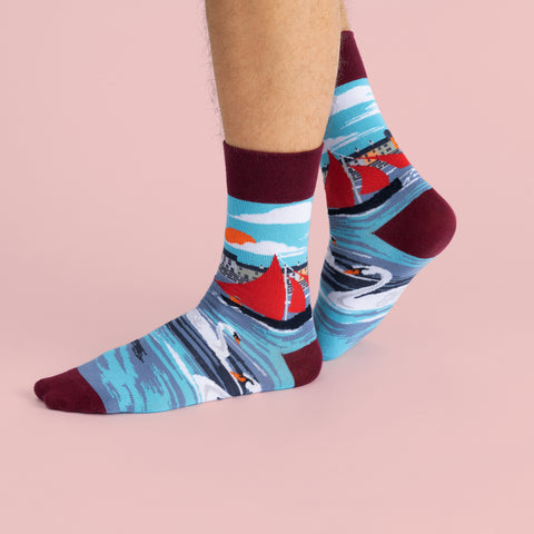 MULTICOLOURED IRISH SOCK OF GALWAY HOOKER BOAT, WITH SWANS BY SOCK CO OP