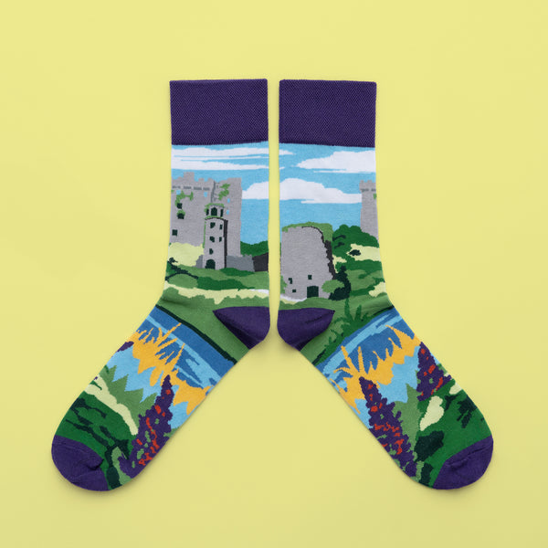 MULTICOLOURED IRISH SOCK OF BLARNEY CASTLE BY SOCK CO OP