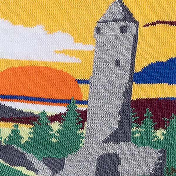 MULTICOLOURED IRISH SOCK OF ROUND TOWER, GLENDALOUGH,WICKLOW, BY SOCK CO OP