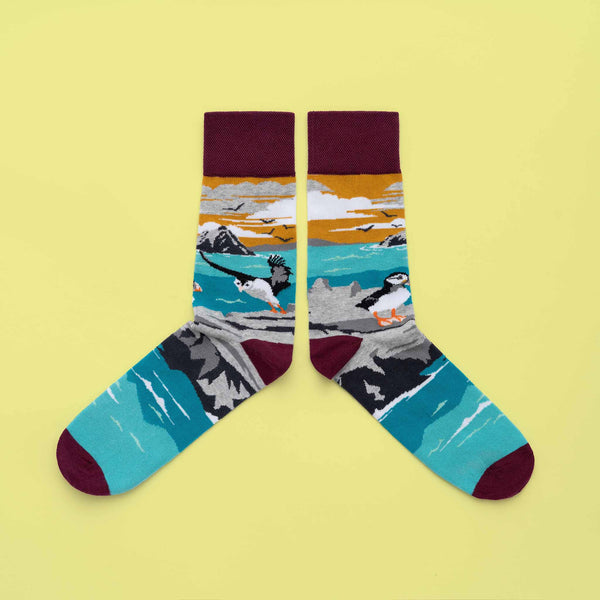 MULTICOLOURED IRISH SOCK OF SKELLIGS AND PUFFINS BY SOCK CO OP