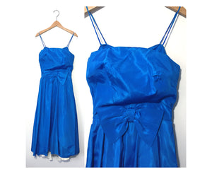 Vintage 50s/60s Royal Blue Sleeveless Formal Dress, Styled by Ricky, Toronto