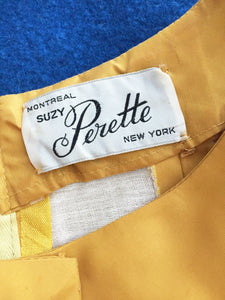 Vintage 1950s Golden Yellow Formal Dress, Suzy Perette New York