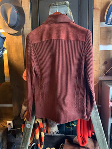 Vintage Sears Suede Burgundy Knit Sweater Jacket. Size 34-36/Small.