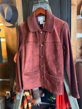 Load image into Gallery viewer, Vintage Sears Suede Burgundy Knit Sweater Jacket. Size 34-36/Small.