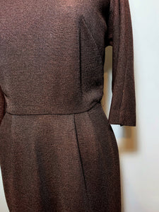 Vintage 50s/60s Brown Wiggle Dress, Gladys Lee