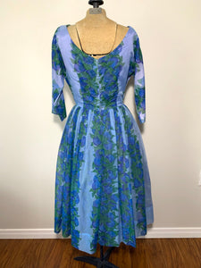 Vintage 50s Blue & Violet Floral Fit and Flare Chiffon Dress