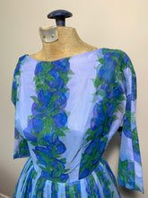 Load image into Gallery viewer, Vintage 50s Blue & Violet Floral Fit and Flare Chiffon Dress