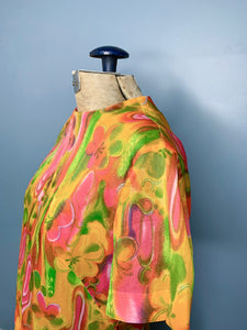 Vintage 60s Brightly Coloured Sheer Blouse, Small