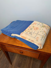 Load image into Gallery viewer, Vintage Quilt, Blue & Cream Coloured, with Pale Floral Pattern. Hand Stitched, Twin Size.