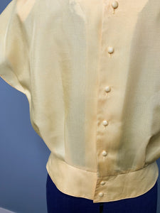 Vintage 80s does 50s Yellow Cropped Tapered Blouse, JP Josephanne.