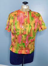 Load image into Gallery viewer, Vintage 60s Brightly Coloured Sheer Blouse, Small