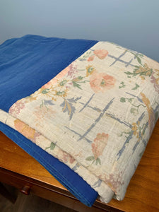 Vintage Quilt, Blue & Cream Coloured, with Pale Floral Pattern. Hand Stitched, Twin Size.