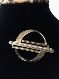 Vintage Sara Hoon Brooch, Abstract. Gold Coloured Pin Back Jewelry. Made in Canada.