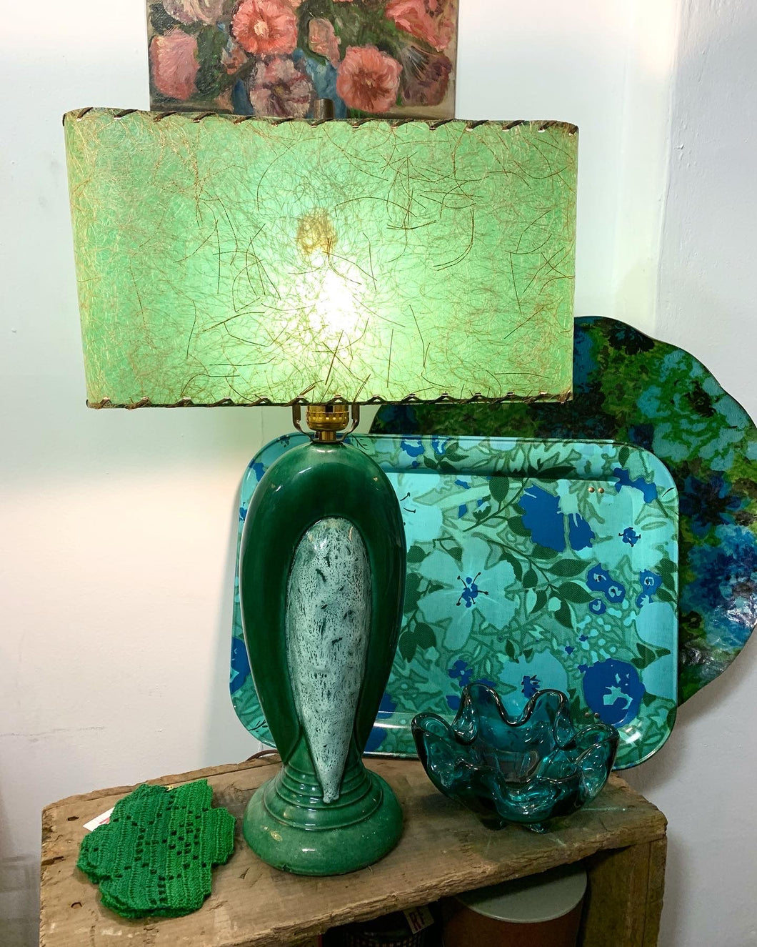 Vintage Green Table Lamp with Fiberglass Shade