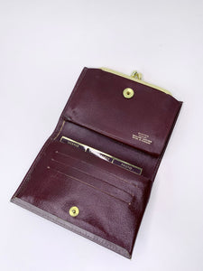 Vintage Burgundy & Grey Leather Buxton Wallet
