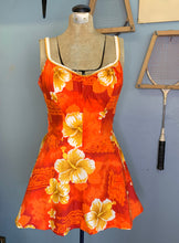 Load image into Gallery viewer, Vintage 60s Orange & Red Hawaiian Swim Dress/Playsuit, De Weese Design