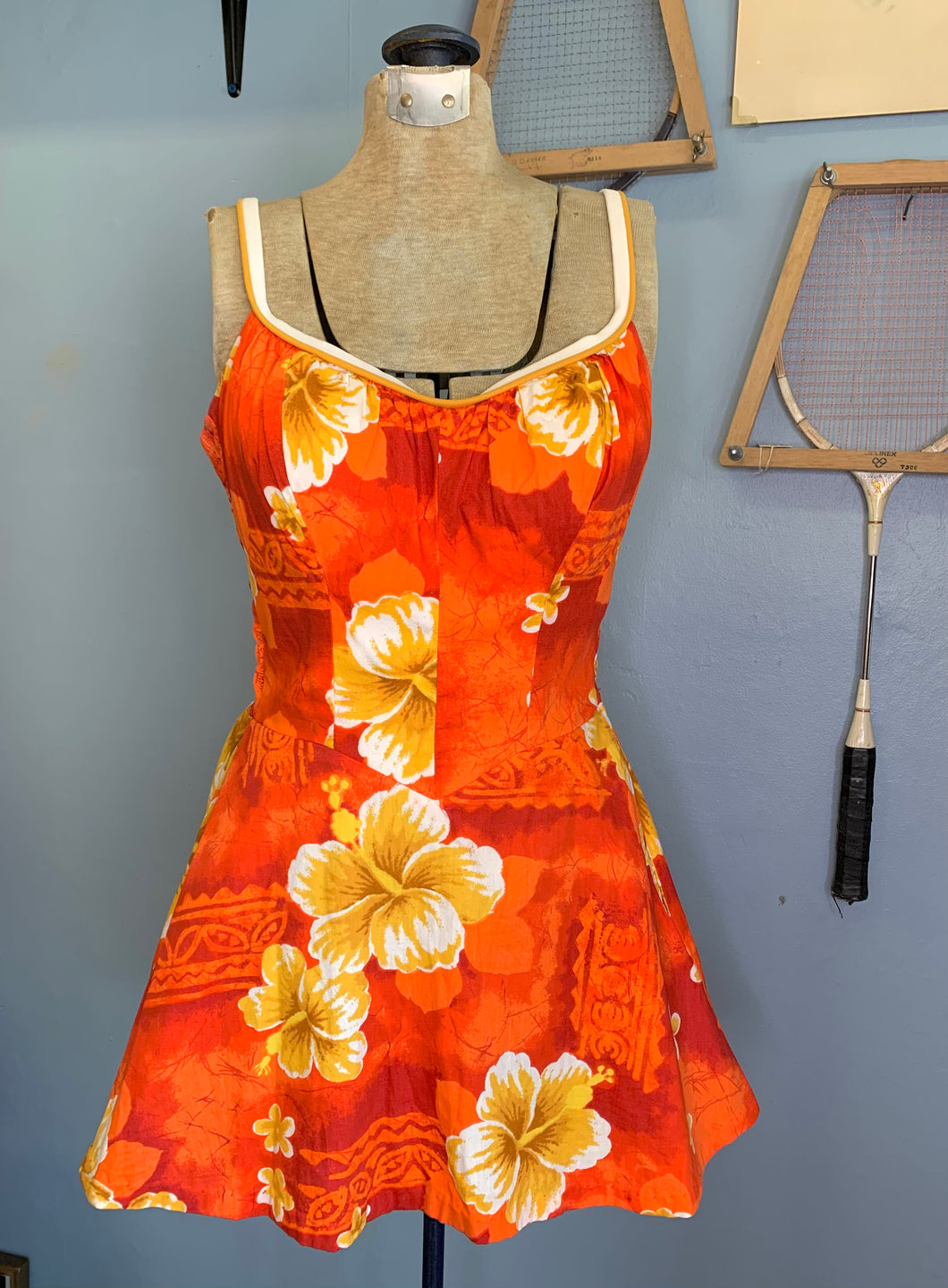 Vintage 60s Orange & Red Hawaiian Swim Dress/Playsuit, De Weese Design