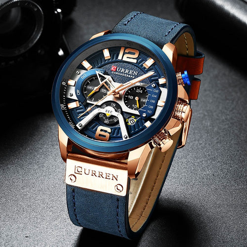 Curren Mens Watches Top Brand Luxury Chronograph Men Watch Leather Luxury Waterproof Sport Watch Men Male Clock Man Wristwatch