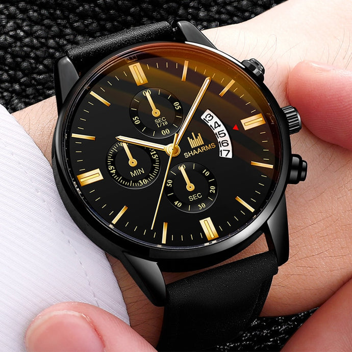 Relogio Masculino watches men fashion Sport box stainless steel leather band watch Quartz business wristwatch Reloj Hombre 2019