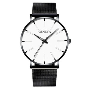 Luxury Fashion Mens Minimalist Watches Ultra Thin black Stainless Steel Mesh Band Watch Men Business Casual Analog Quartz clock