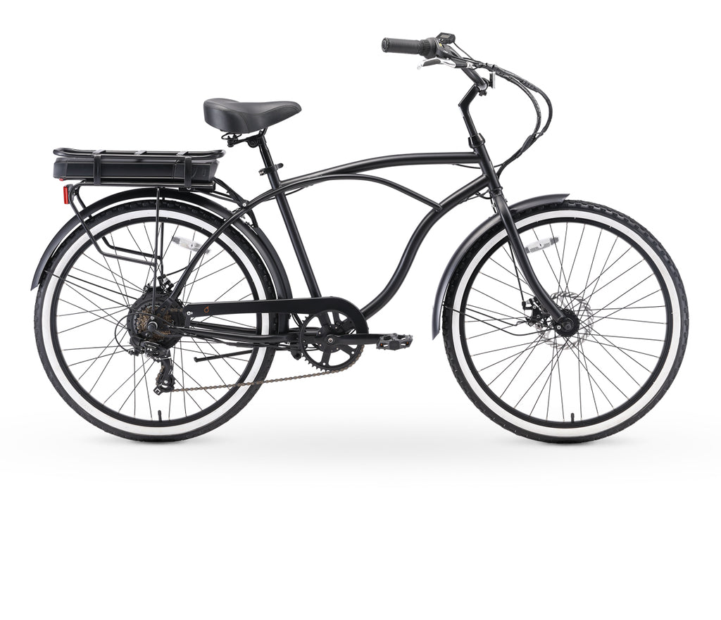 "sixthreezero Around The Block Men's 26"" 250W 7 Speed Electric Beach Cruiser Bicycle"