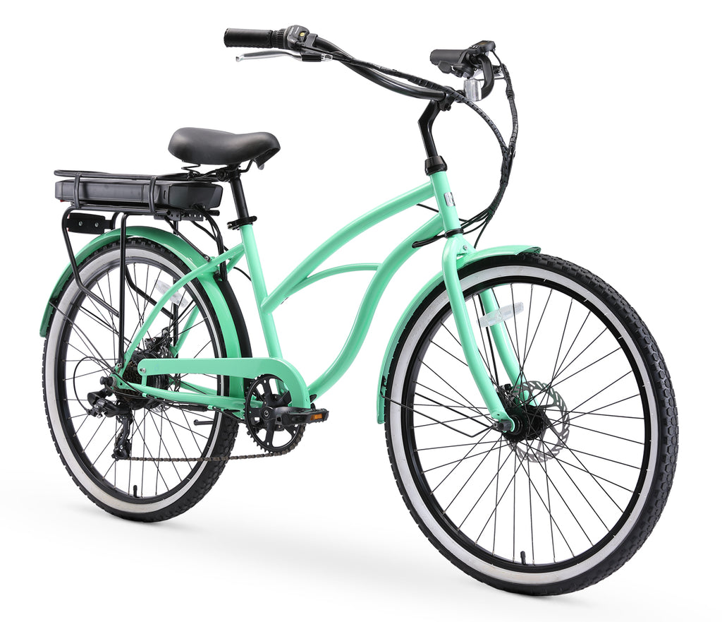 "sixthreezero Around the Block Women's 26"" 500W 7 Speed Electric Beach Cruiser Bicycle"
