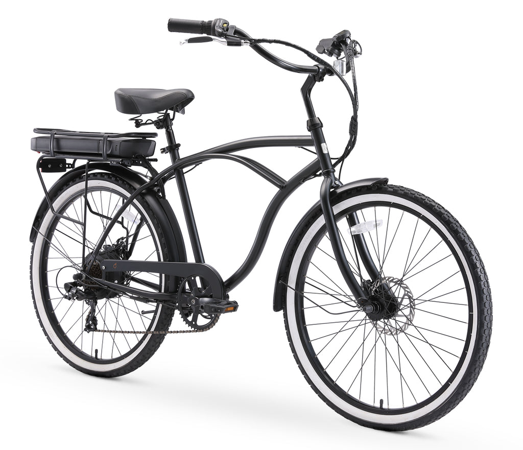 "sixthreezero Around the Block Men's 26"" 500W 7 Speed Electric Beach Cruiser Bicycle"