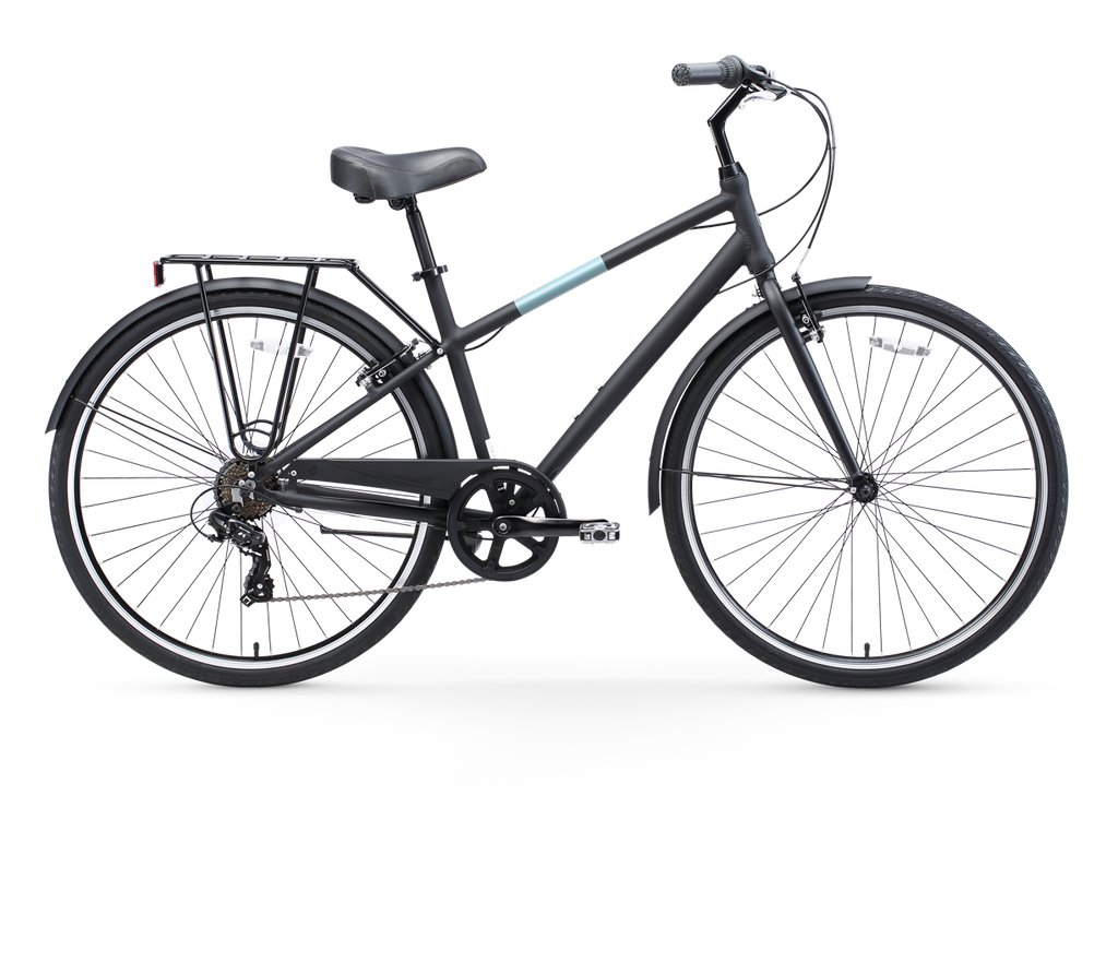 sixthreezero Reach Your Destination Men's 7 Speed Hybrid Bike, Matte Black