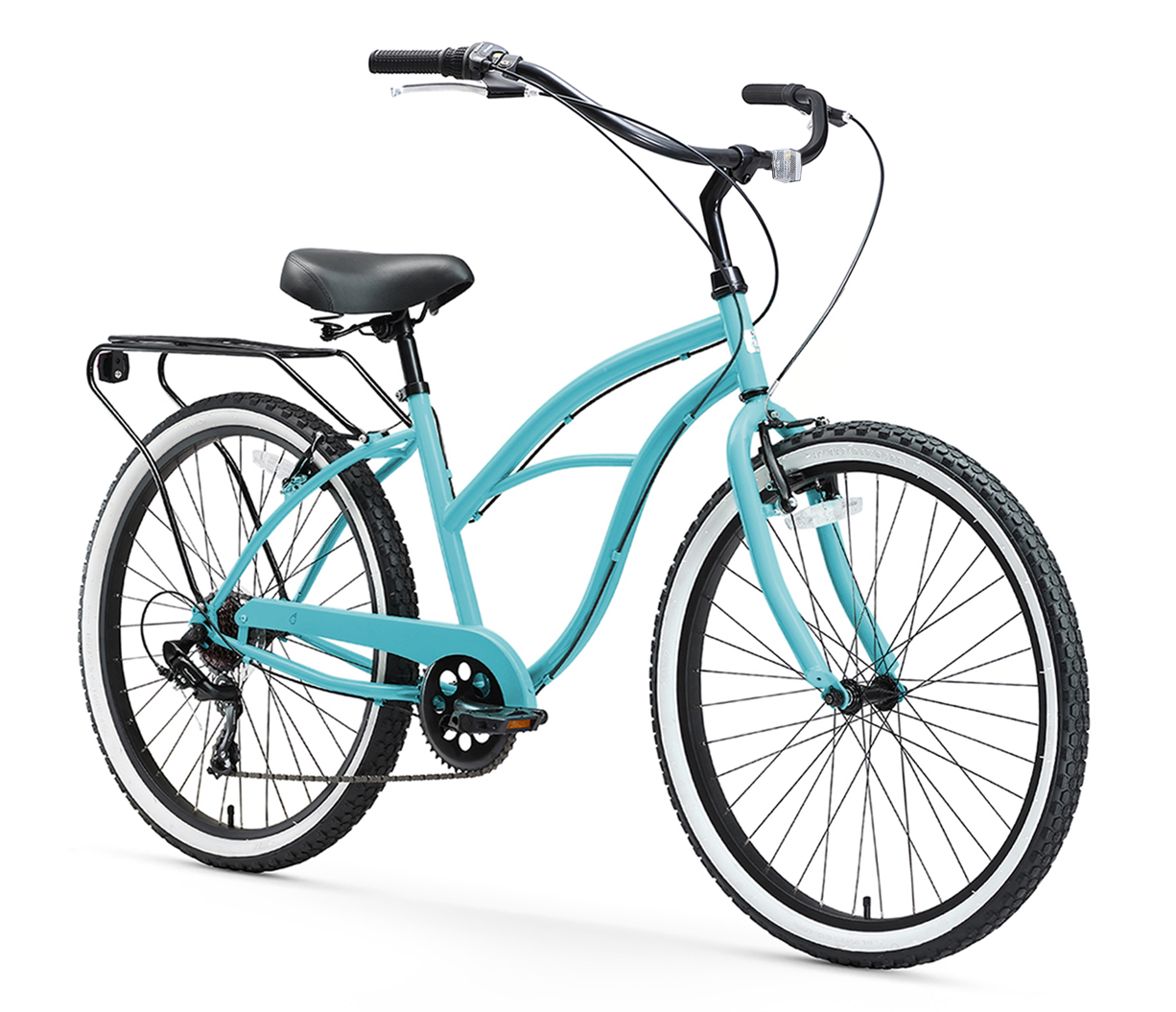 "sixthreezero Around the Block Women's 24"" Seven Speed Beach Cruiser Bicycle with Rear Rack"
