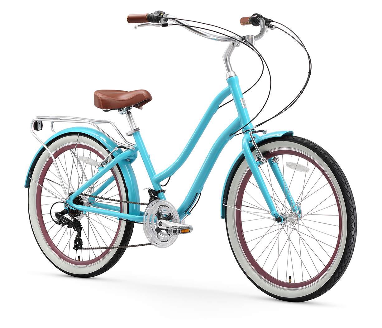 "sixthreezero EVRYjourney Women's 26"" 21 Speed Step-Through Touring Hybrid Bicycle"