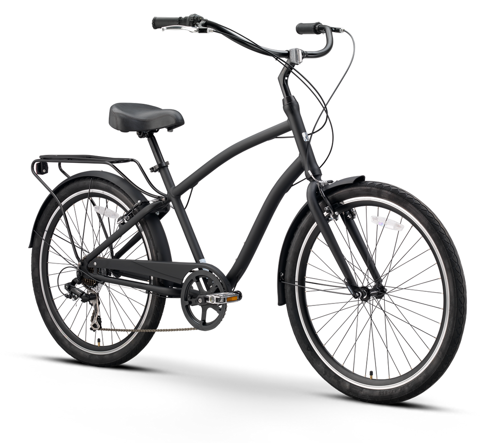 sixthreezero EVRYjourney Men's 7 Speed Touring Hybrid Bike, Matte Black